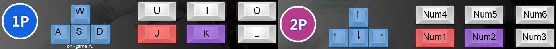 Клавиши управления для игрока 1 и игрока 2